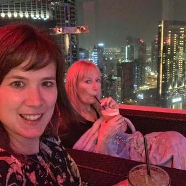 My mum and I at a roof top bar in Dubai
