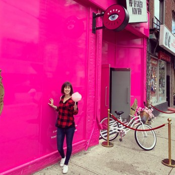 Me outside Eye Candy in Toronto with candyfloss.