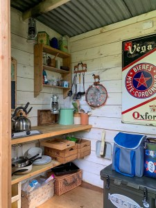 Interior image of the kitchen hut of 'Fallow' Shepherd's Hut at Warmwell in Dorset
