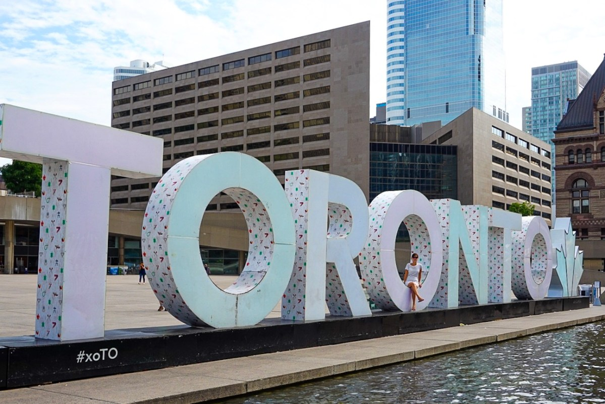 The Toronto sign in Nathan Phillips Square.