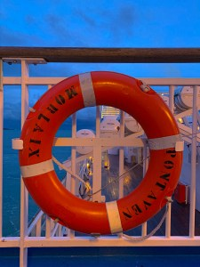 Life buoy onboard Pont Aven, Brittany Ferries