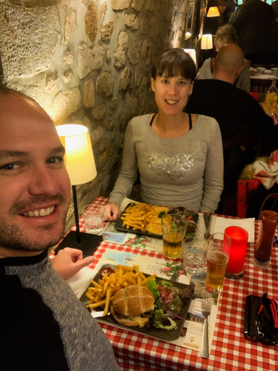 Matt and I having lunch in Dinan