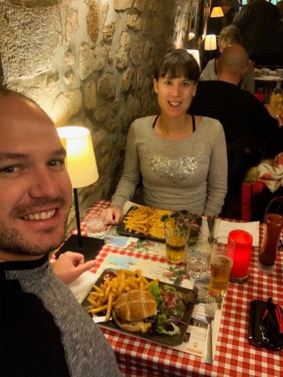 Matt and I having lunch in Dinan
