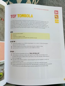 Five Minute Mum book, toy tombola activity. This book has loads of things to do with kids during lockdown