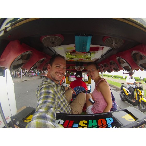 A selfie in the back of a tuk tuk. A great way to get unique views of Bangkok