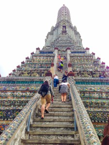 The steep climb to the top of Wat Pho
