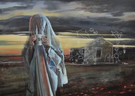 fantôme 2, Nicolas Marciano, huile sur toile, 162x114 cm