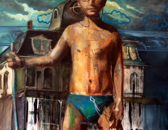 l'aventurier, nicolas marciano, huile sur toile, 116x89, 2017
