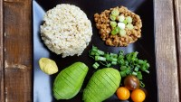 Natto, brown rice and avocado