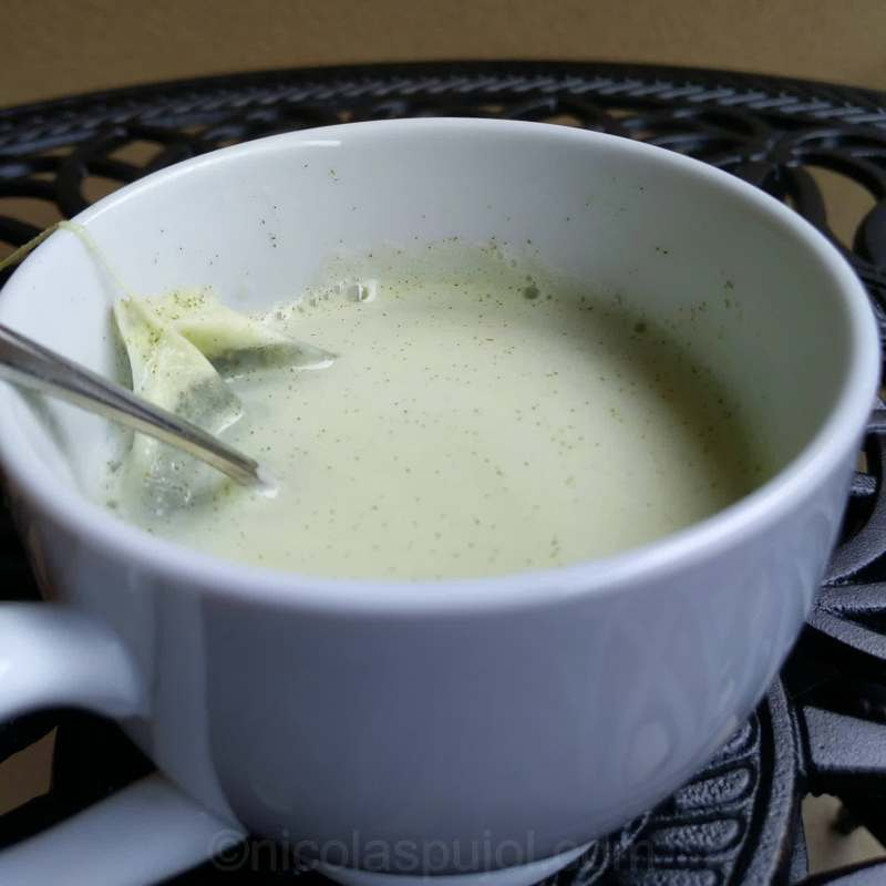 Almond milk Japanese tea latte recipe