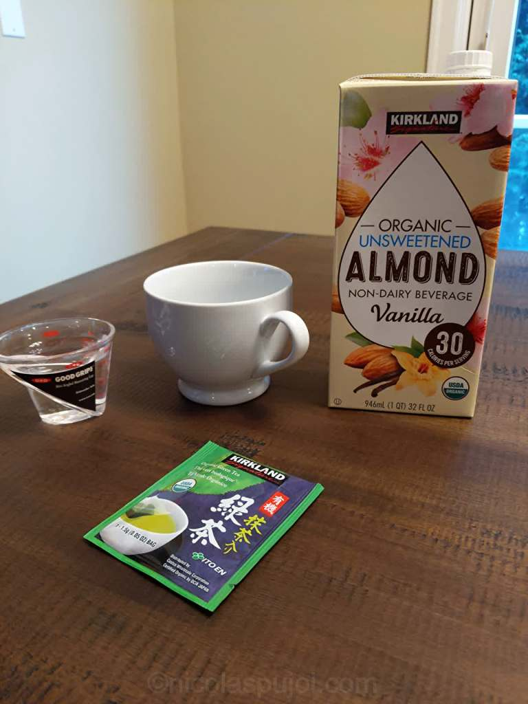 Hot almond milk with green tea ingredients