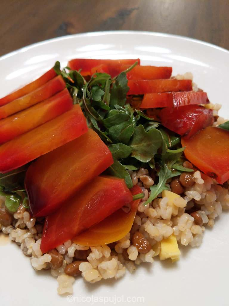 Natto salad with golden beets arugula and ginger