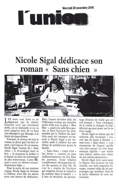 """Nicole Sigal dédicace son roman """"Sans chien"""""""