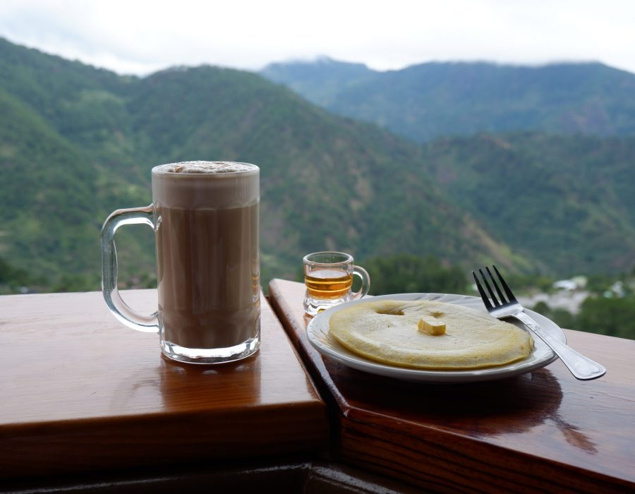 coffee and pancake at 1sangwow cafe by the clouds