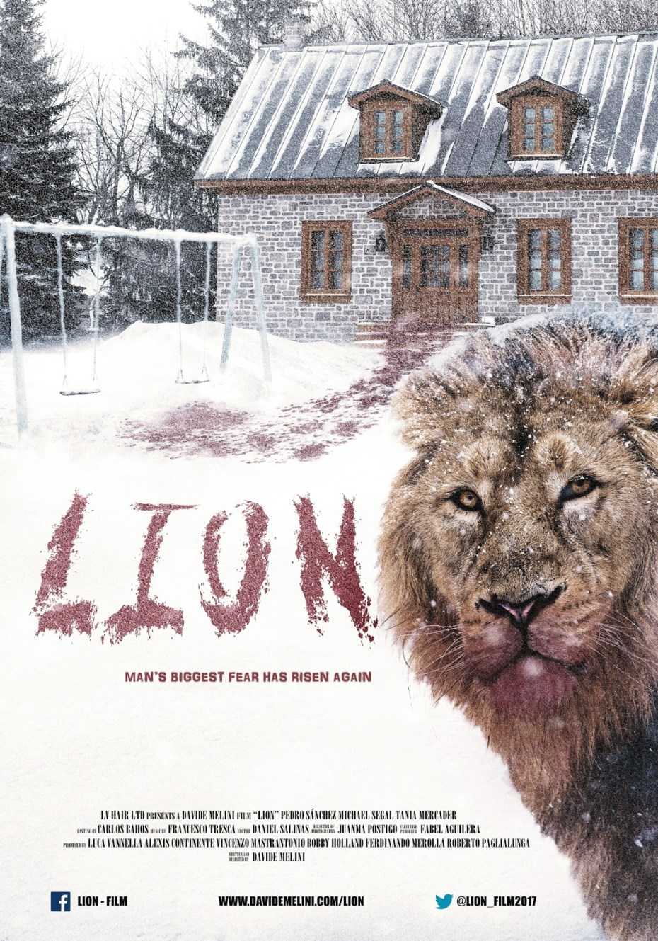 "Official poster for Davide Melini's short film ""Lion"""