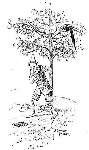 Pinocchio ritrova la Volpe e il Gatto, e va con loro a seminare le quattro monete nel Campo dei miracoli. Capitolo XVIII