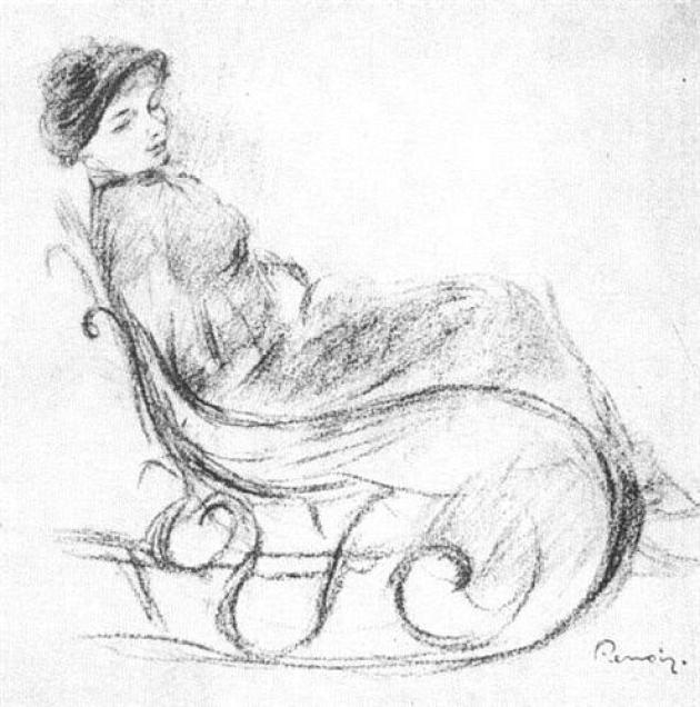 sketch of a woman in a rocking chair