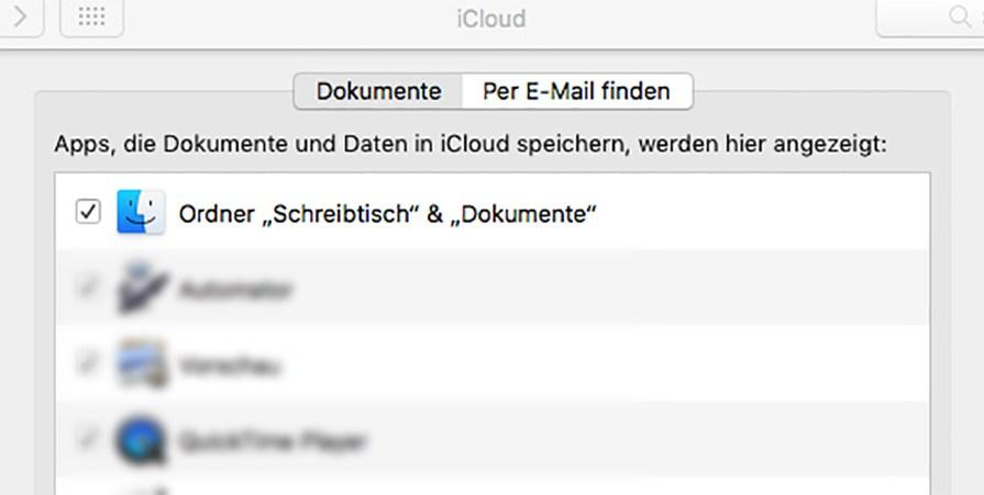 iCoud Desktop und Dokumente synchonisieren