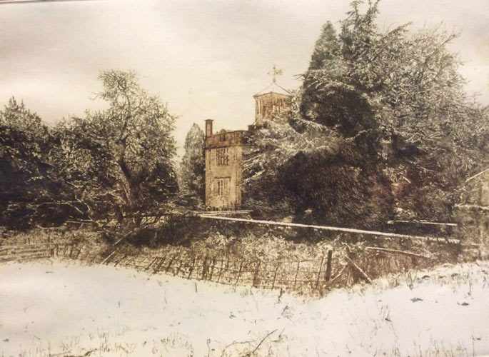 Weston Hall, in winter (drypoint) - Brian Hindmarch
