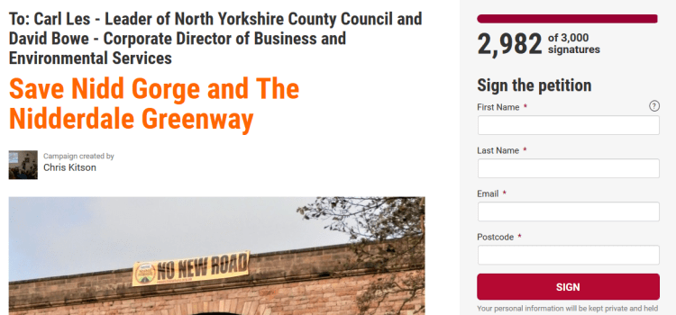 "Why the wording of the petition – ""Save Nidd Gorge and the Nidderdale Greenway"" – is spot on!"