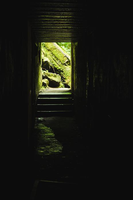 Išilgai bunkerio vedantis koridorius