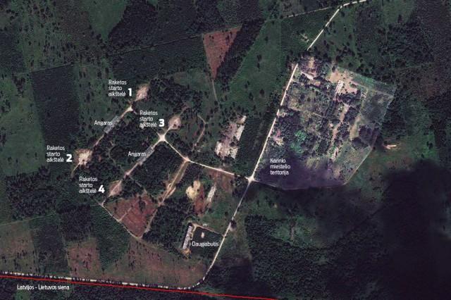 Raketų starto aikštelių ir karinio miestelio ortofoto