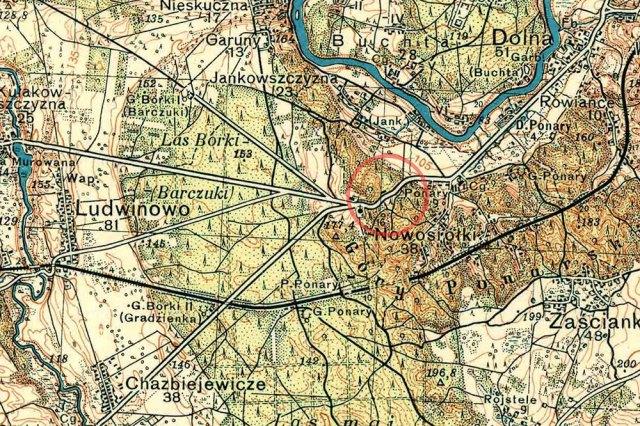 1934 m. žemėlapio fragmentas