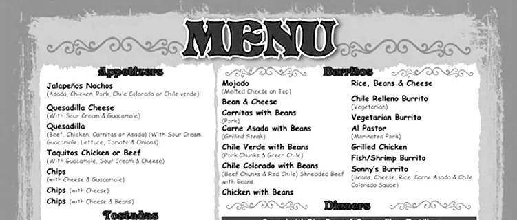 menu restauracji na fb