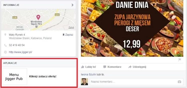 menu aplikacja fb