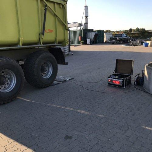 Maisernte 2019, Testphase mobile Waage, Nierswalder Biogasanlage