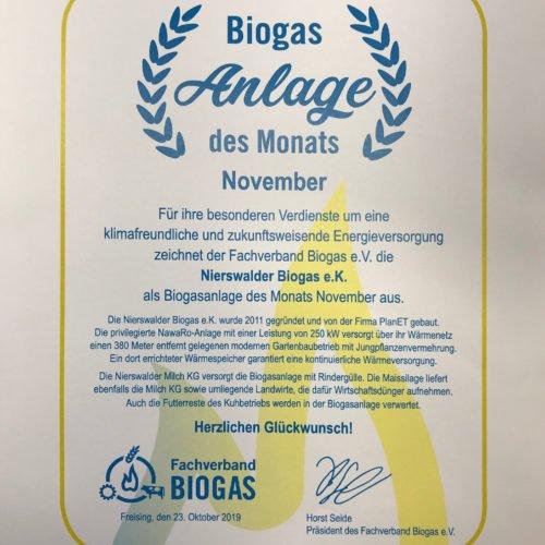 """Wir freuen uns über die Auszeichnung zur """"Biogasanlage des Monats November 2019""""! Nierswalder Biogas e.K., Goch"""