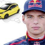 Racecoureur denkt aan kleine stadsauto (auto in denkwolkje)