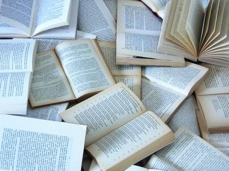 Opengeslagen boeken op een hoop. Copyright foto: m s