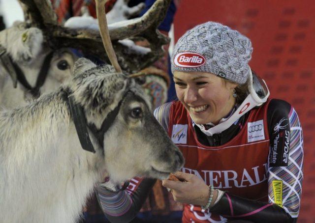 Mikaela Shiffrin con su primer reno, ahora ya tiene la parejita