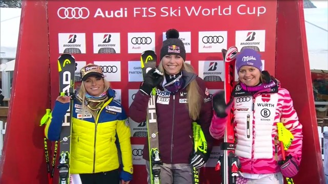 Lindsey Vonn junto a Lara Gut y Viktoria Rebensburg en el podio FOTO: Eurosport