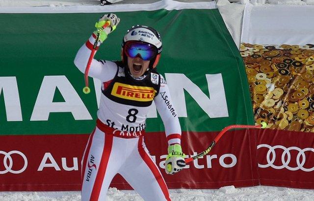 La reacción de Nicole Schmidhofer al ver que había marcado el mejor tiempo FOTO: Eurosport