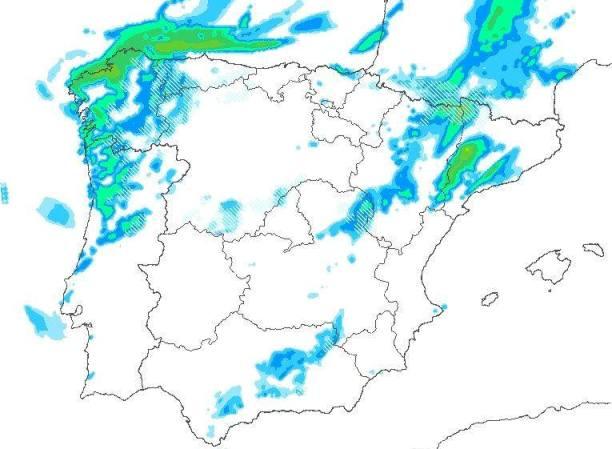 Cuadro de precipitaciones previstas para el miércoles 22 de marzo