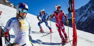 Lindsey Vonn entrenando con miembros del equipo estadounidense masculino