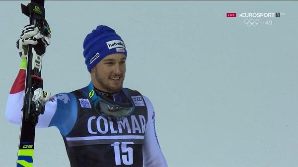 Luca Aerni, campeón del mundo de combinada, ha subido por primera vez a un podio de la Copa del Mundo