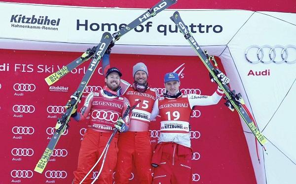 Es la décima vez que Noruega logra un 'doblete' en carreras de velocidad con la pareja Svindal-Jansrud o viceversa. Aquí en el podio de hoy junto a Matthias Mayer