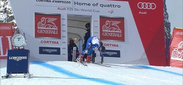 Sofia Goggia ha perdido el apoyo del bastón derecho en el momento de la salida y no ha acabado la carrera