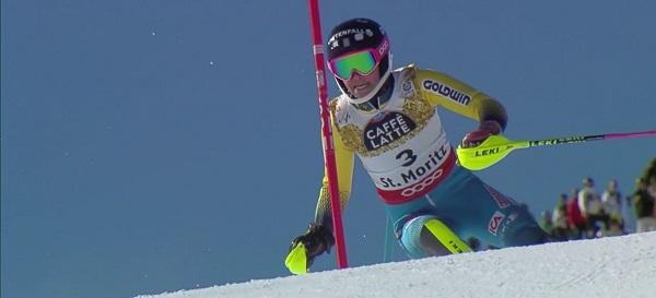 Frida Hansdotter, en el slalom del pasado Mundial de St Moritz donde se colgó el bronce por detrás de Shiffrin y Holdener