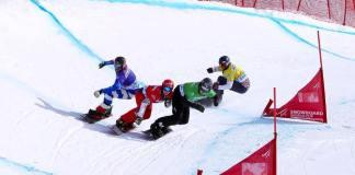 Carrera de la semana de snowboard cross, con Eguíbar -que hoy ha terminado 6º en Bansko_, en carrera