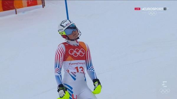 Lindsey Vonn no puede ocultar su decepción tras ser eliminada en el slalom