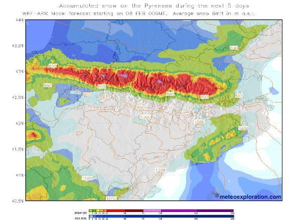 Acúmulos de precipitaciones en los Pirineos
