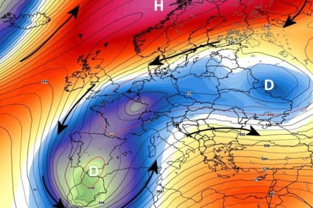 Situación típica de invierno, con masas de viento polar