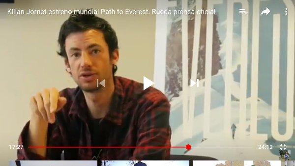 Kilian Jornet durante el acto de presentaciín de su película Path to Everest