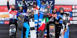 Lucas y Regino en el podio de SBX, en Veysonnaz (Suiza)