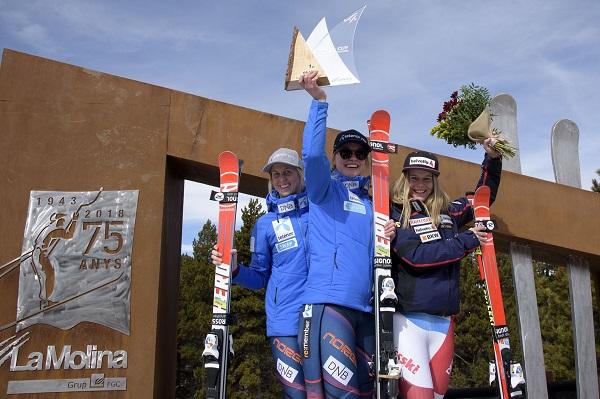 El podio del primer gigante de Copa de Europa femenina, hoy en La Molina, ha tenido sabor noruego con Thea Louise Stjernesund y Kristine Gjelsten Haugen en las dos primeras plazas. La suiza Rahel Kopp ha sido tercera FOTO: @oriolmolas
