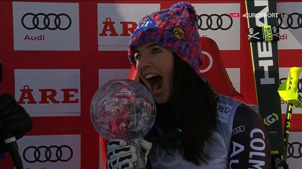 Tina Weirather, feliz con su segundo Globo de super G